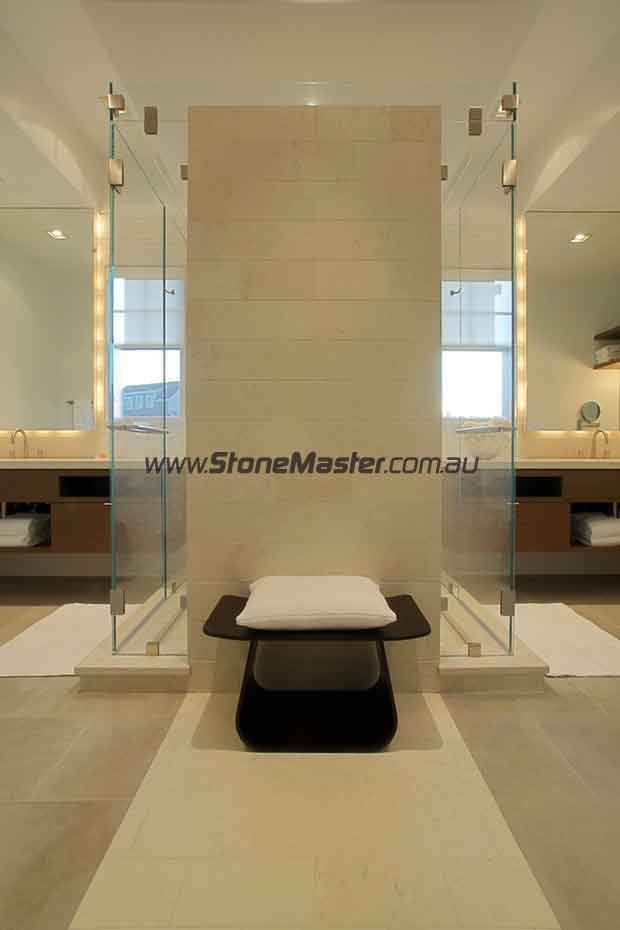limestone contemporary bathroom