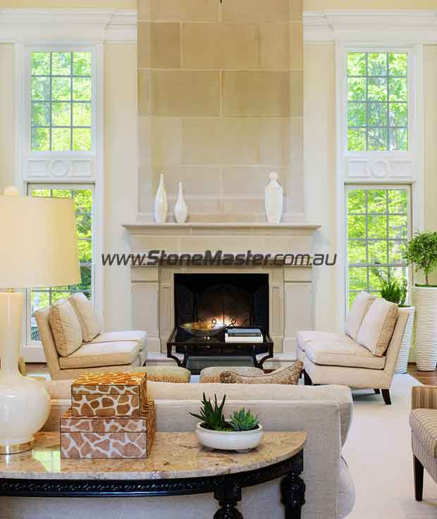 limestone transitional living room