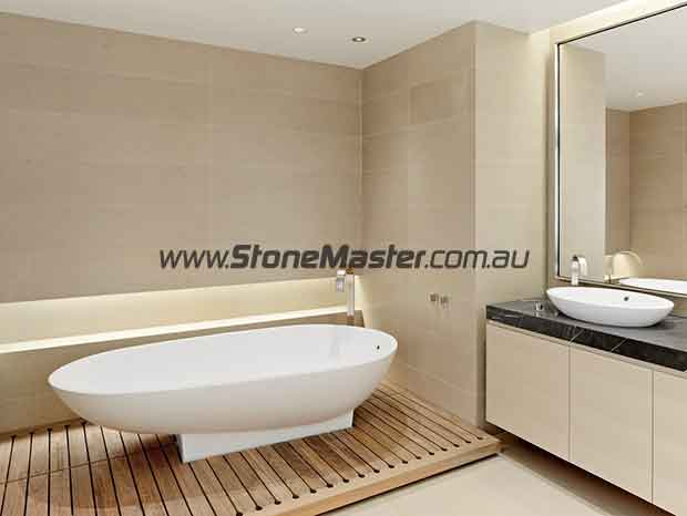 white limestone contemporary bathroom