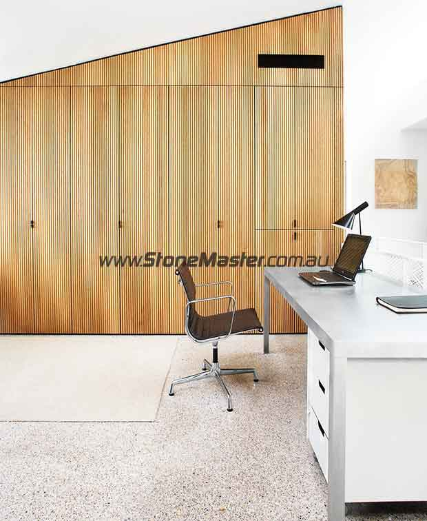 modern home office with terrazzo floor