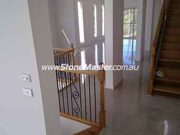 terrazzo tiles empty living room timber staircase indoor house