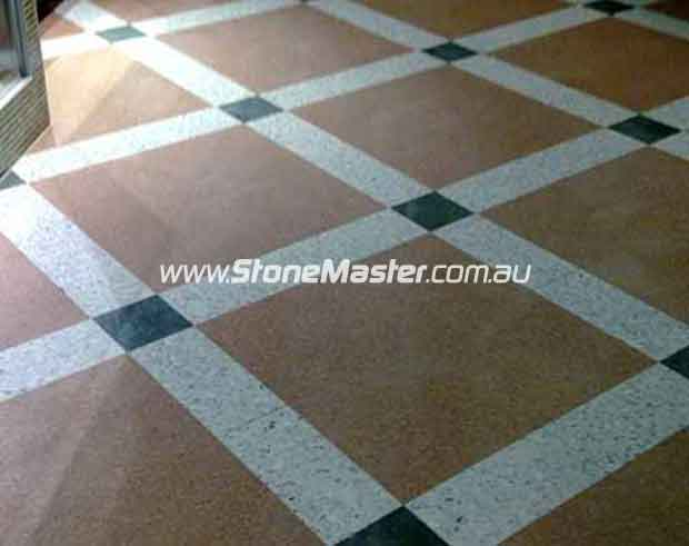 terrazzo tiles floor colorfull stripes pattern before cleaning