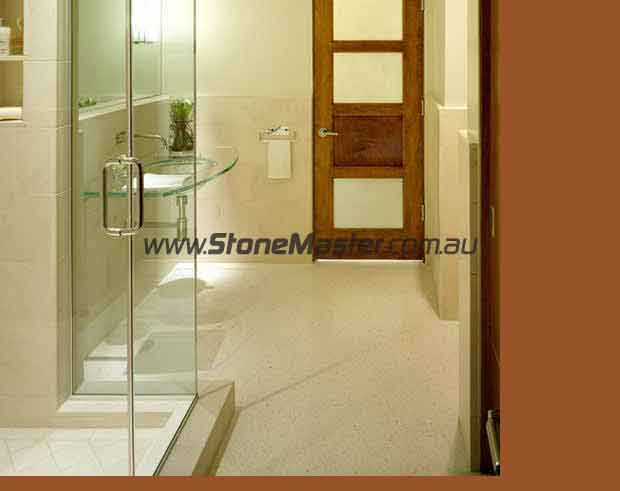 terrazzo tiles in bathroom floor light contemporary style