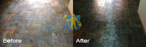 slate floor before and after cleaning and sealing