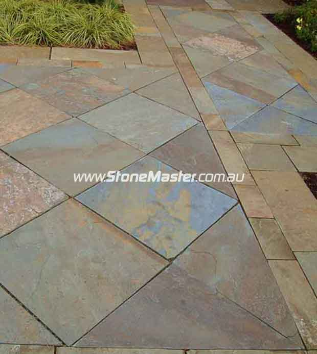 bluestone tiles outdoor patio rusty color