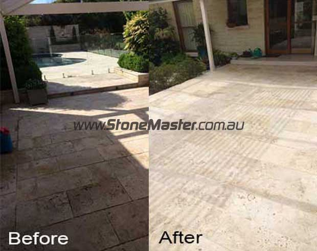 before and after cleaning outdoor travertine pavers