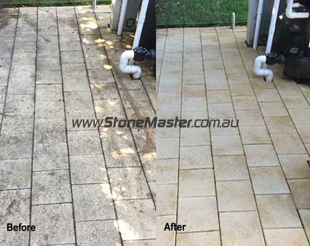before and after sandstone pavers cleaning
