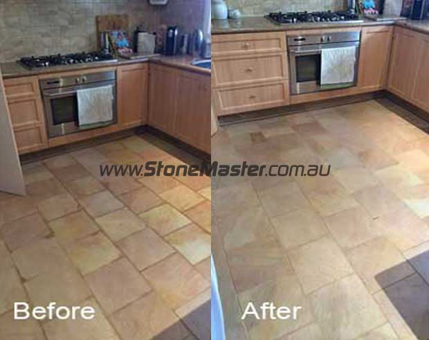kitchen sandstone floor before and after cleaning