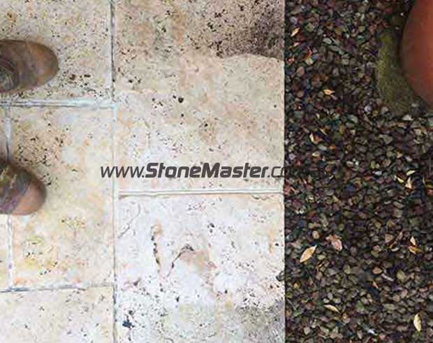 outdoor travertine paver before cleaning