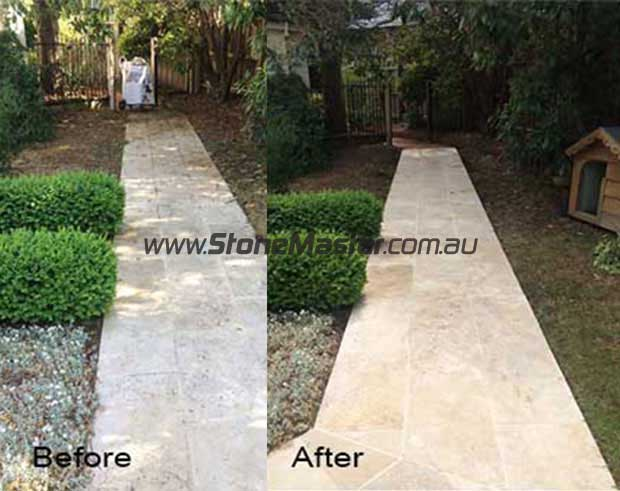 outdoor travertine pavers before and after cleaning