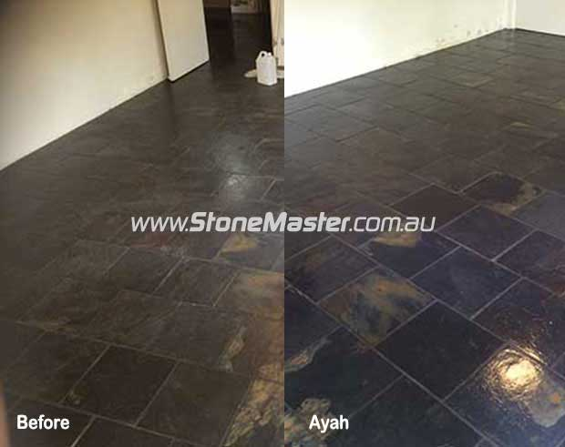 slate floors before and after sealing with a topical sealer