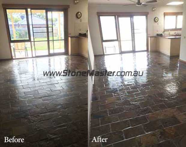 slate home floor before and after cleaning and sealing