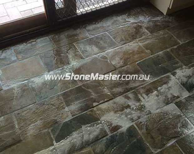 while cleaning slate floor