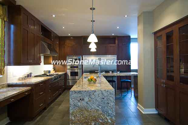 granite white table in kitchen