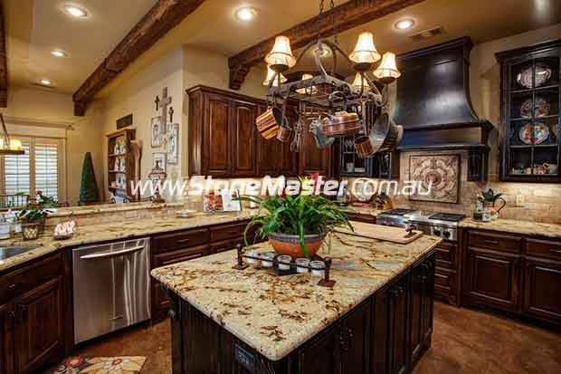 light brown granite kitchen table