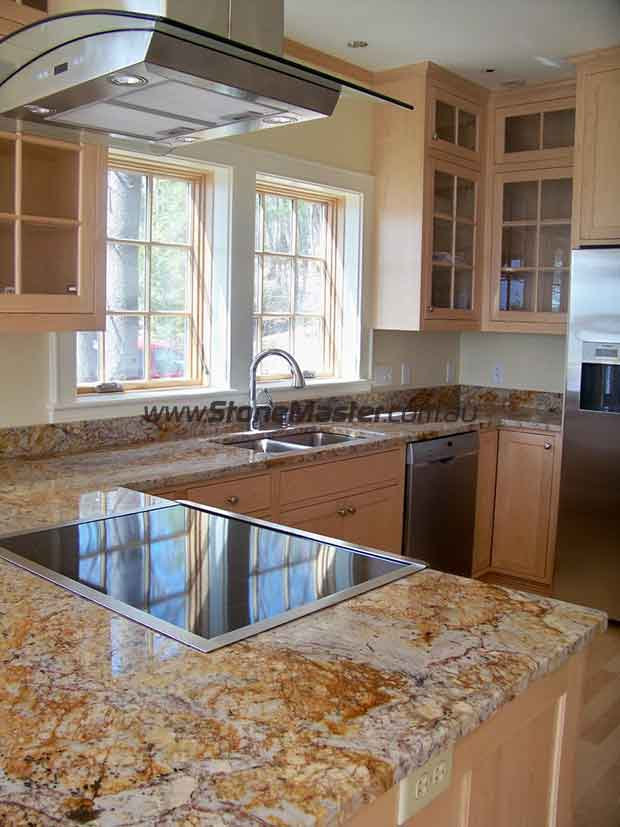 shiny granite countertop
