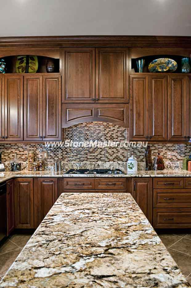 shiny granite table in traditional kitchen