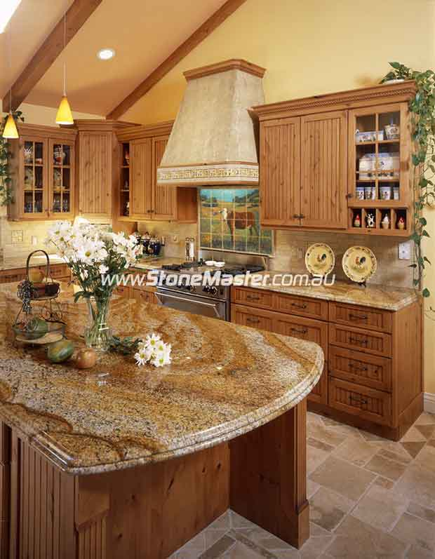 traditional kitchen with brown granite table