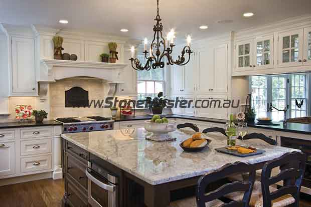 traditional kitchen with granite table