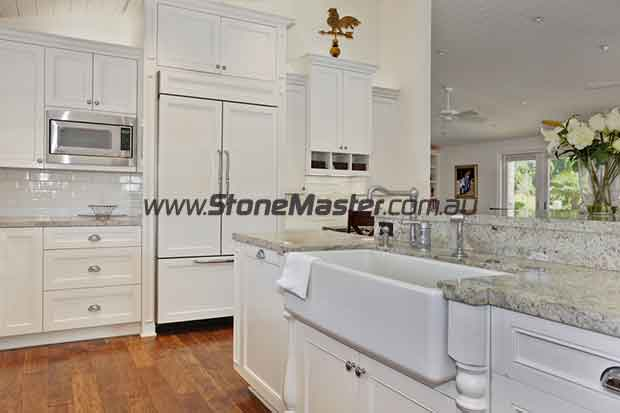 traditional kitchen with white granite