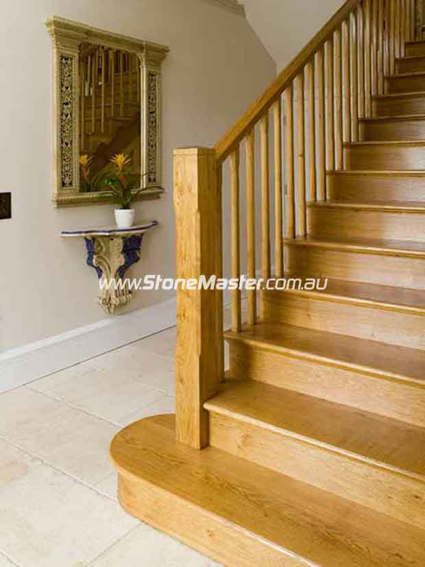 marble tile tumbled acru hallway wood staircase