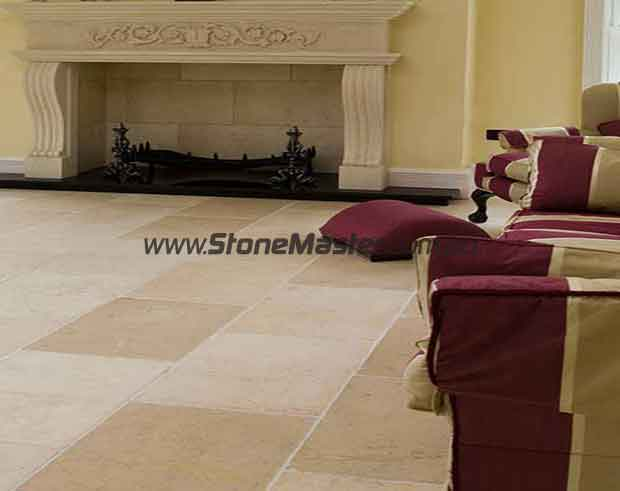 marble tile tumbled acru white grout livingroom