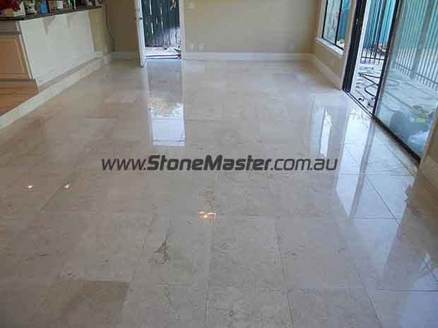 white marble floor after cleaning