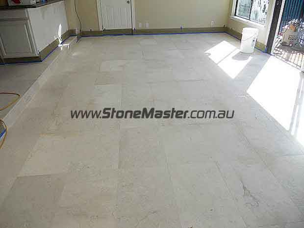 white marble floor before cleaning