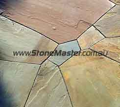 bluestone tiles irregular shape patio purple cement grout
