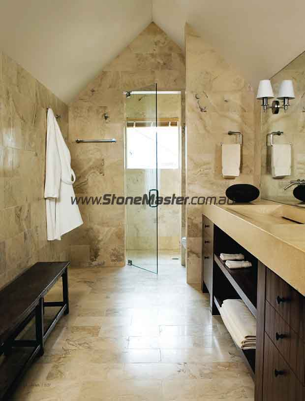 contemporary bathroom shiny travertine bathroom