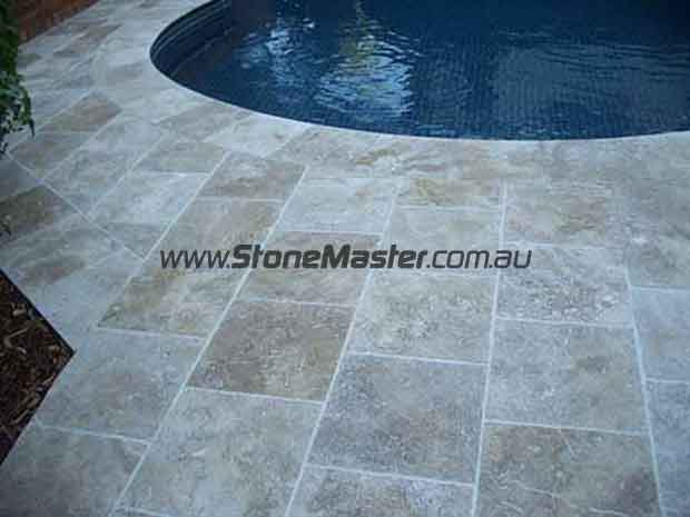 outdoor pool travertine tiles lunar clean
