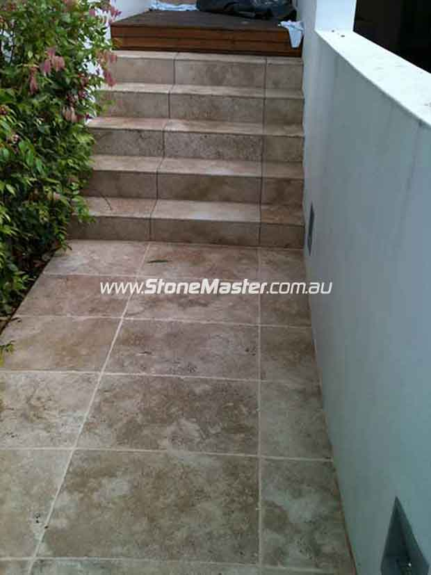 stone tiles outdoor stairs dirty before cleaning