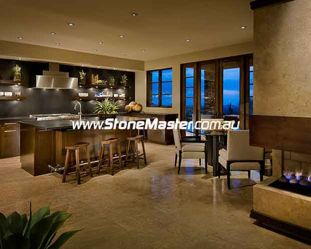 travertine contemporary polished kitchen