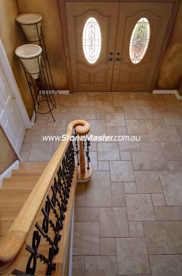 travertine traditional entry
